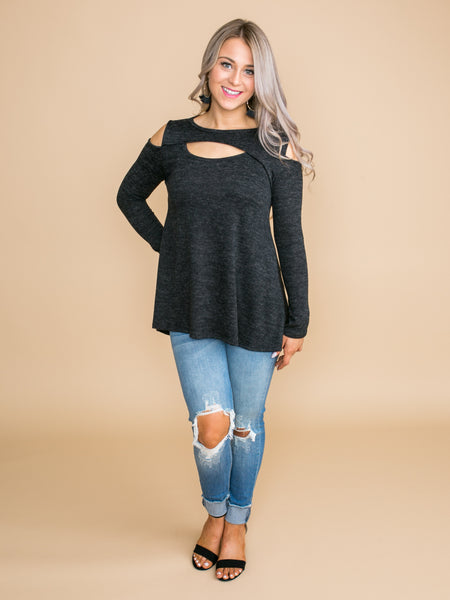 Do Your Thing Cutout Top - Charcoal