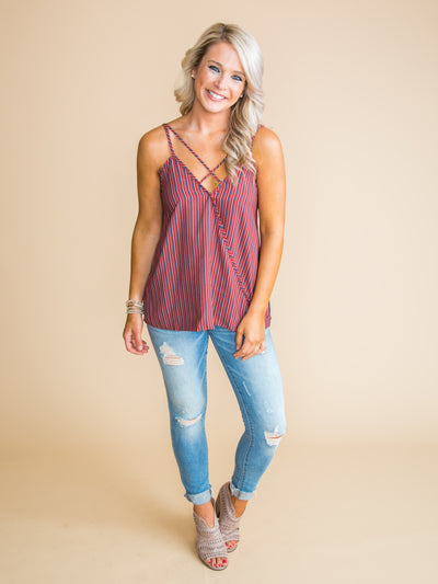 Don't Be Afraid To Love Printed Draped Tank - Red