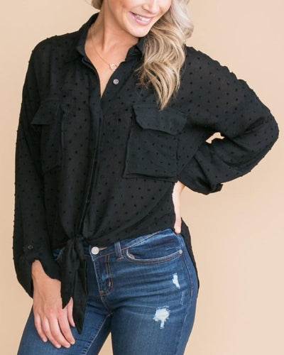 Don't Leave It Behind Knot Top - Black