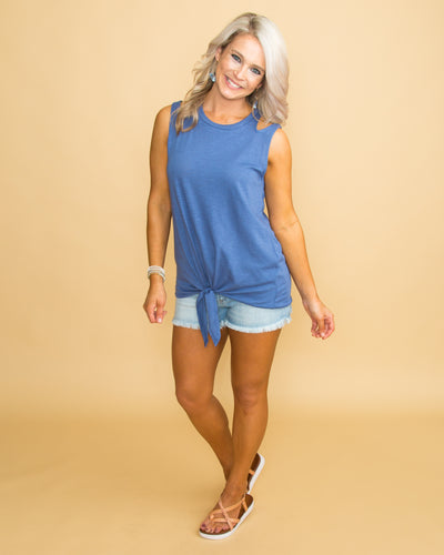 Don't Lose Faith Knot Top - Blue