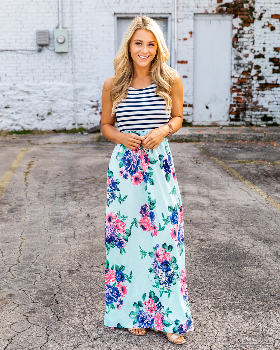 Dream It, Live It, Love It Floral Stripe Maxi - Mint