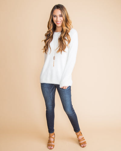 Dress It Up Feather Sweater - Off White