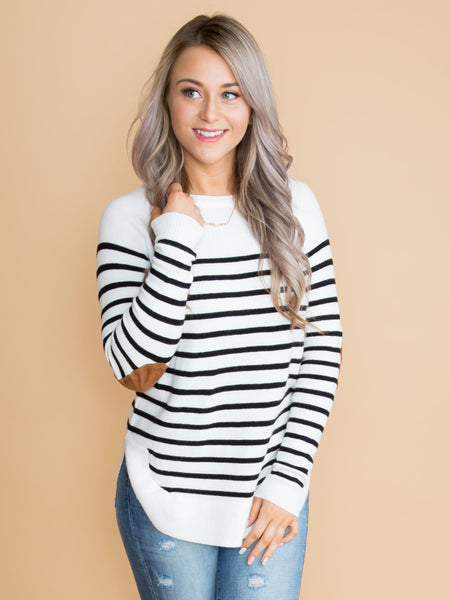 Eastland Avenue Stripe Elbow Patch Top - Off White