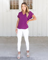 Eastwood V-Neck Top - Orchid