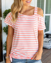 Easy Street Stripe Top - Coral