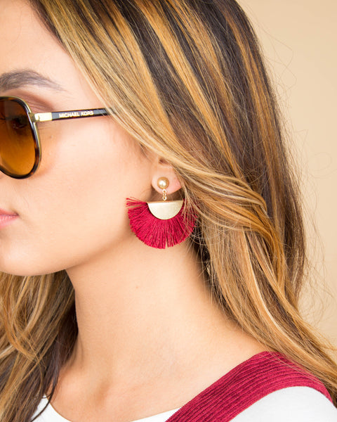 Elena Tassel Earrings - Red