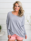 Cassie Cross Over Sweater - Grey