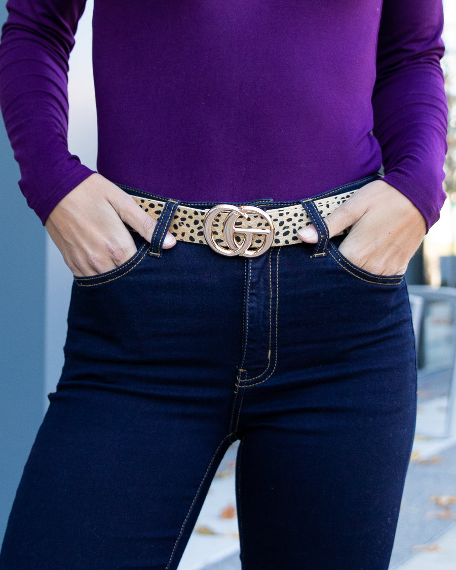 Elsie Cheetah Belt - Tan