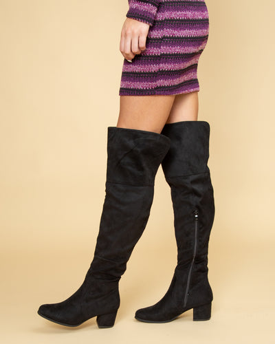 Emalyn Over The Knee Boots - Black