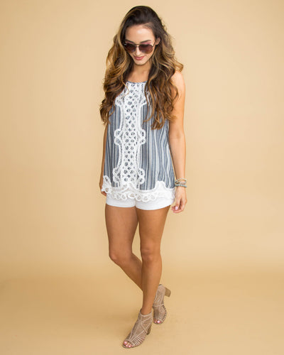 Embrace This Love Lace Stripe Tank - Navy