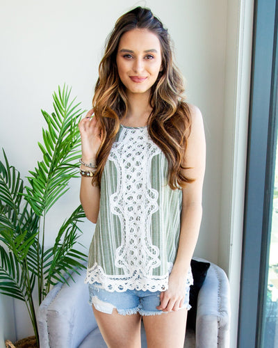 Embrace This Love Lace Stripe Tank - Olive