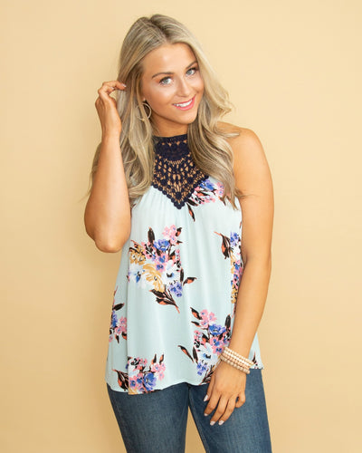 Embracing Beauty Crochet Floral Halter Top - Lt Blue