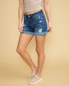 Eva Cuffed Distressed Denim Short - Medium Wash