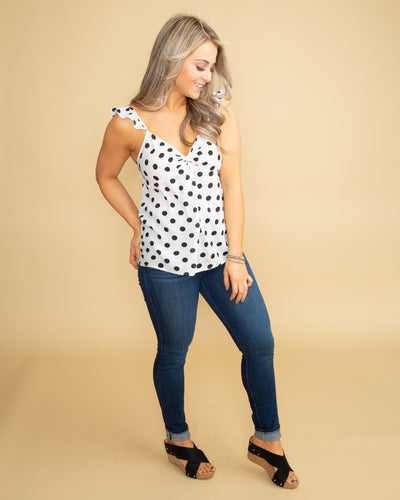 Everlasting Romance Polka Dot Tank - Off White