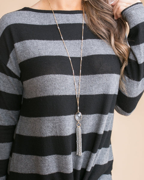 Everlee Tassel Necklace - Grey
