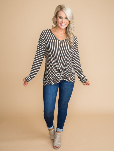 Everything Going For You Stripe Twist Top - Olive