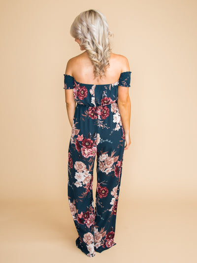 Everything You Thought Floral Jumpsuit - Deep Forest