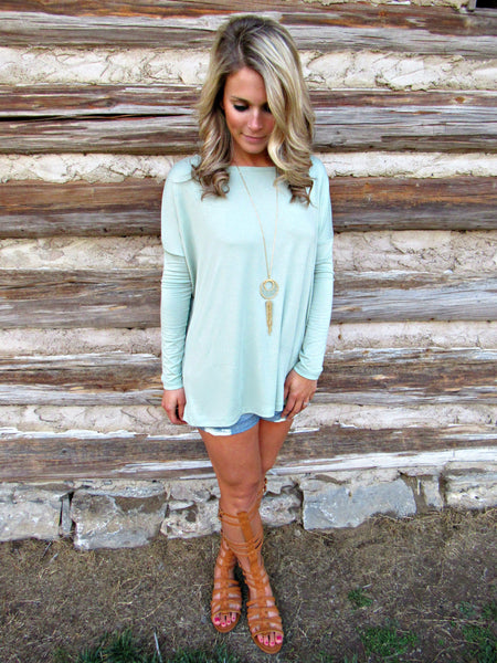 Everywhere I Go Piko Top - Sage
