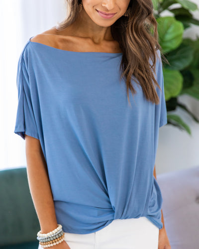 Expect Nothing Less Top - Denim Blue