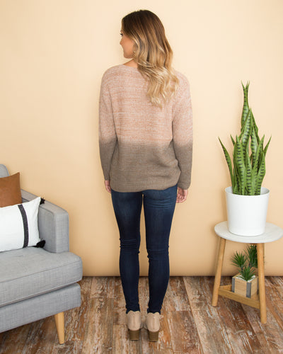 Fade Into Fall Knit Sweater - Taupe