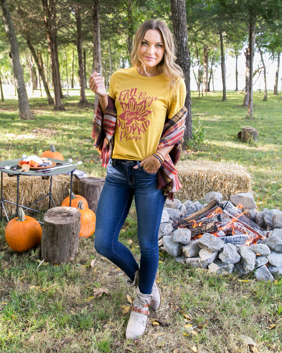 Fall Breeze And Autumn Leaves Graphic Tee  - Mustard