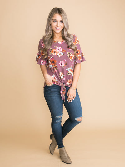 Falling For Florals Knot Top - Purple