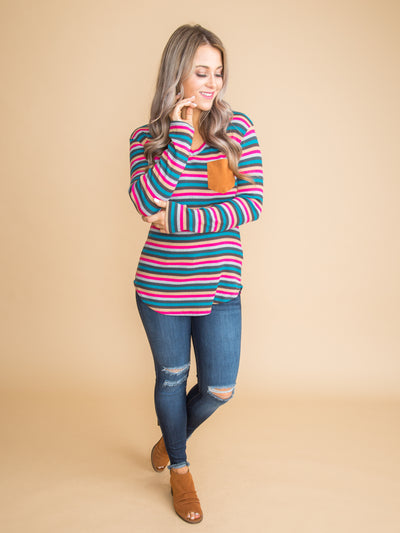 Falling For It Ribbed Stripe Pocket Top - Multi