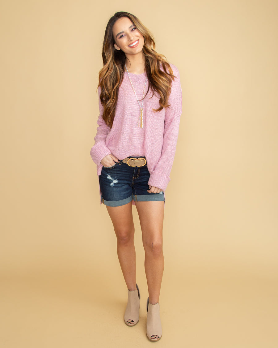 Falling For Love V-Neck Sweater - Lilac