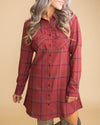 Fancy For Fall Plaid Dress - Brick
