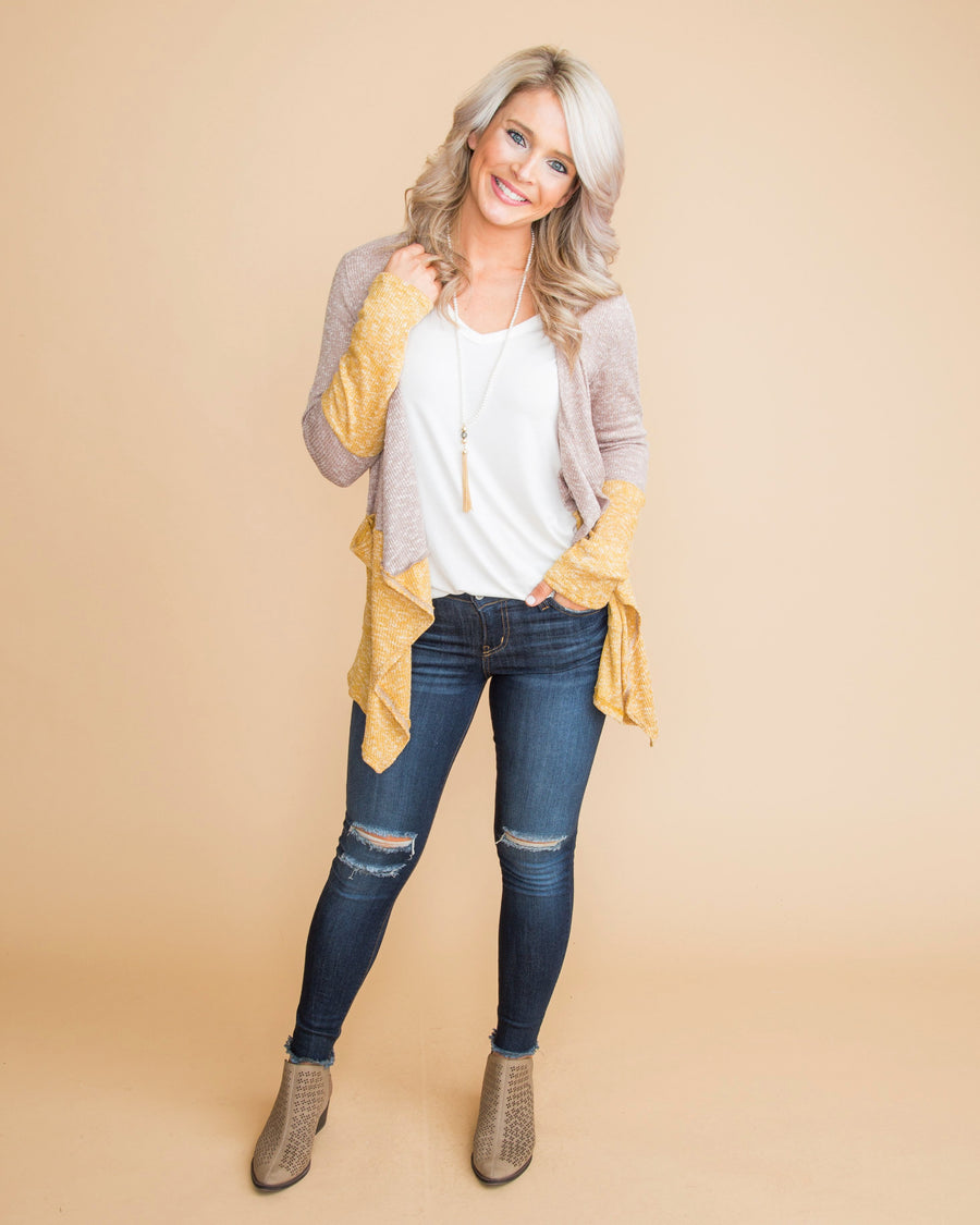 Favorite For Fall Color-Block Cardigan - Taupe