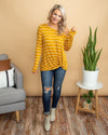 Feel Good Moment One Shoulder Stripe Knot Top - Mustard