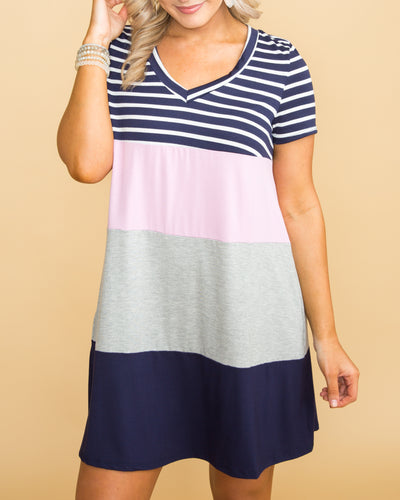 Feel The Love Color-Block Stripe Dress - Navy
