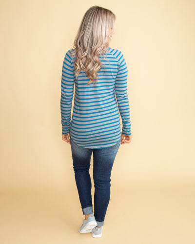 Feeling Good Stripe Top - Blue/Grey