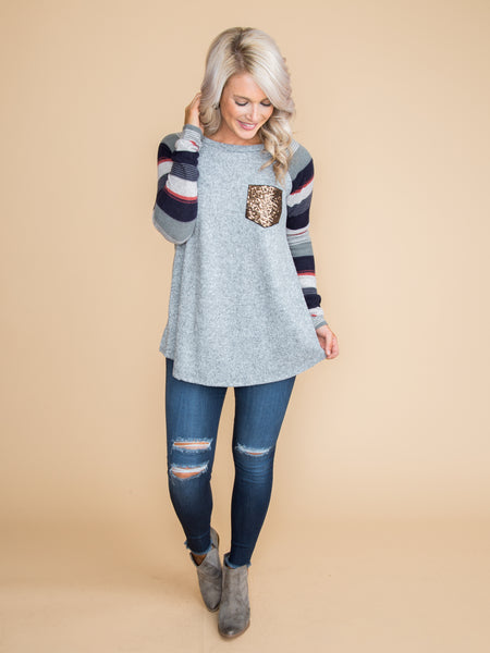 Fill Our Hearts Sequin Pocket Top - Lt Grey