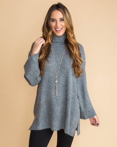 Find Me In Fall Slouchy Sweater Tunic - Grey