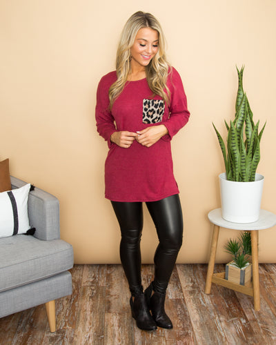 Find What You Need Leopard Pocket Top - Sangria
