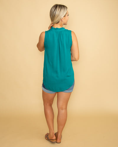 Find Your Treasure Button Top - Dark Teal