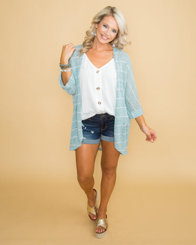 Finders Keepers Stripe Cardigan - Dusty Blue