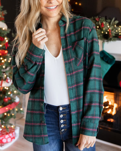 Finding My Way Plaid Top - Forest Green