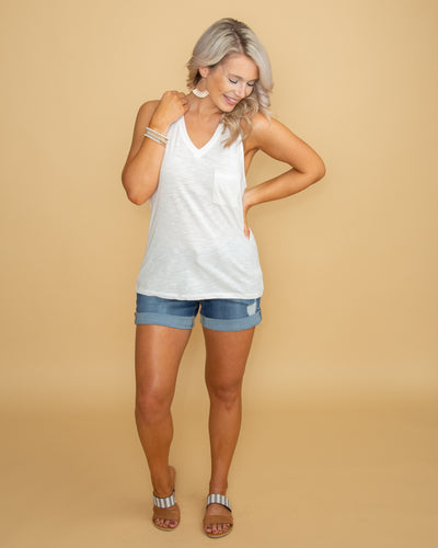 Finley Pocket Tank- Off White