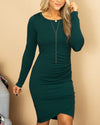 Flawlessly Flaunting Side Ruching Dress - Forest Green