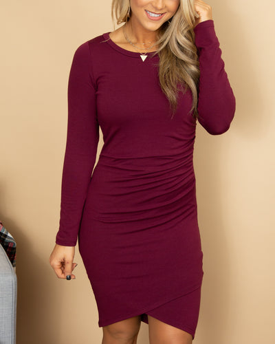Flawlessly Flaunting Side Ruching Dress - Plum