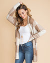 Flight to Seattle Plaid Cardigan Coat - Tan