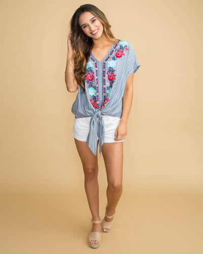 Kisses From Cali Floral Stripe Tie Front Top - Denim Blue