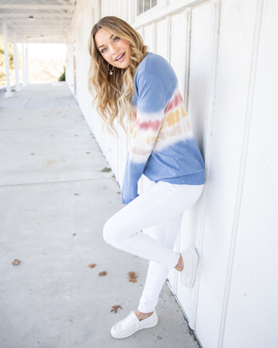 Follow The Fun Pullover - Denim Blue