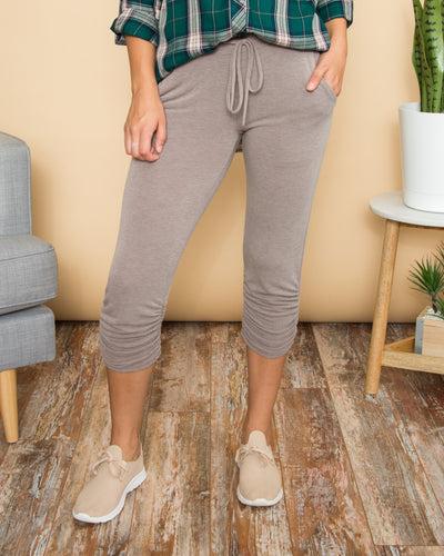 Follow The Truth Side Ruching Jogger - Taupe