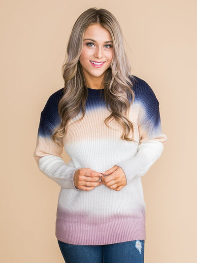 For Any Occasions Ombre Sweater - Navy