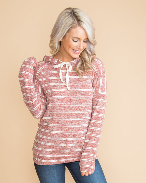 For The Best Stripe Hoodie - Heather Brick