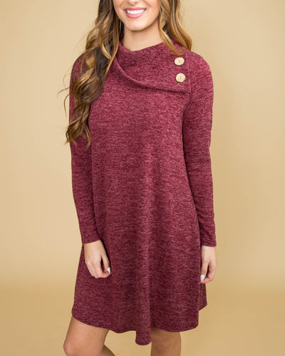 Forever In Love Cowl Neck Dress - Heather Burgundy