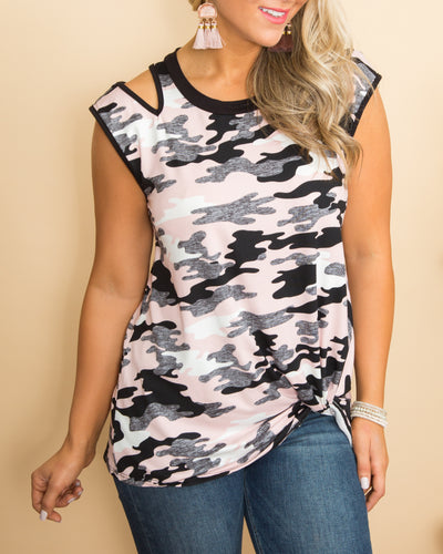 Freely Me Camo Cutout Top - Pink Multi